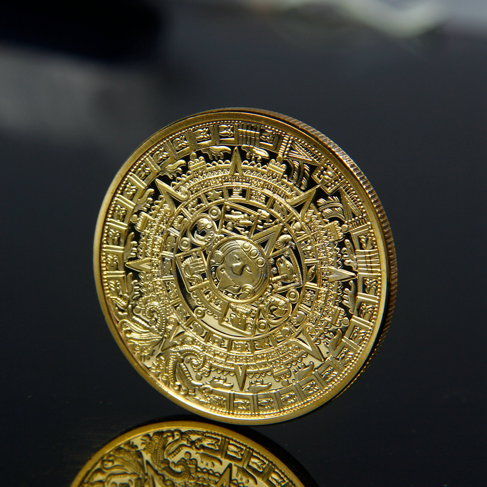 gold plated aztec mayan calendar commemorative coin souvenir