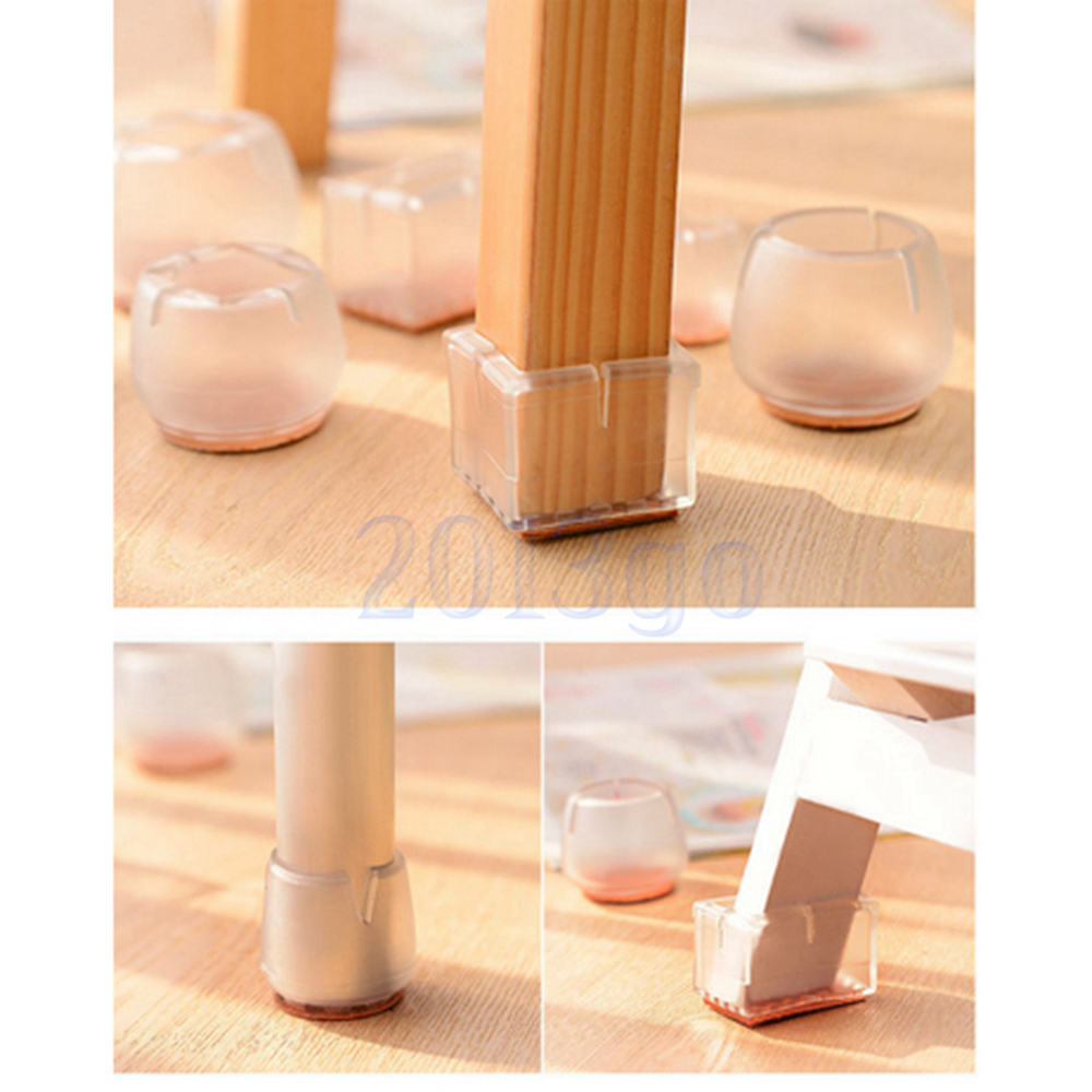 round bottom square opening clear silicon gel chair leg