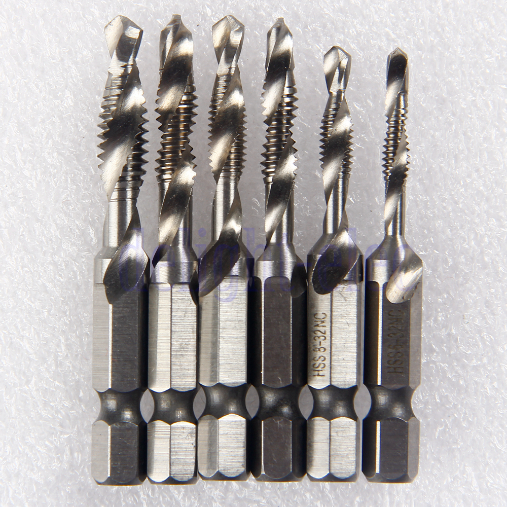6pcs hss combined screw tap drill bits 1 4 hex shank for. Black Bedroom Furniture Sets. Home Design Ideas