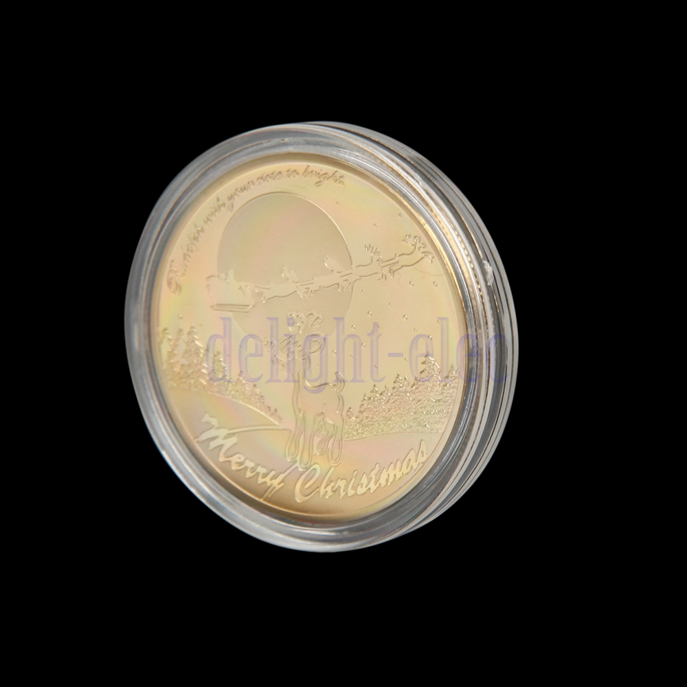 Gold plated merry christmas santa claus commemorative coin collection