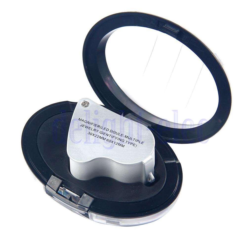 2in1 60x 30x Magnifier Loop Magnifying Glass Jeweler Eye
