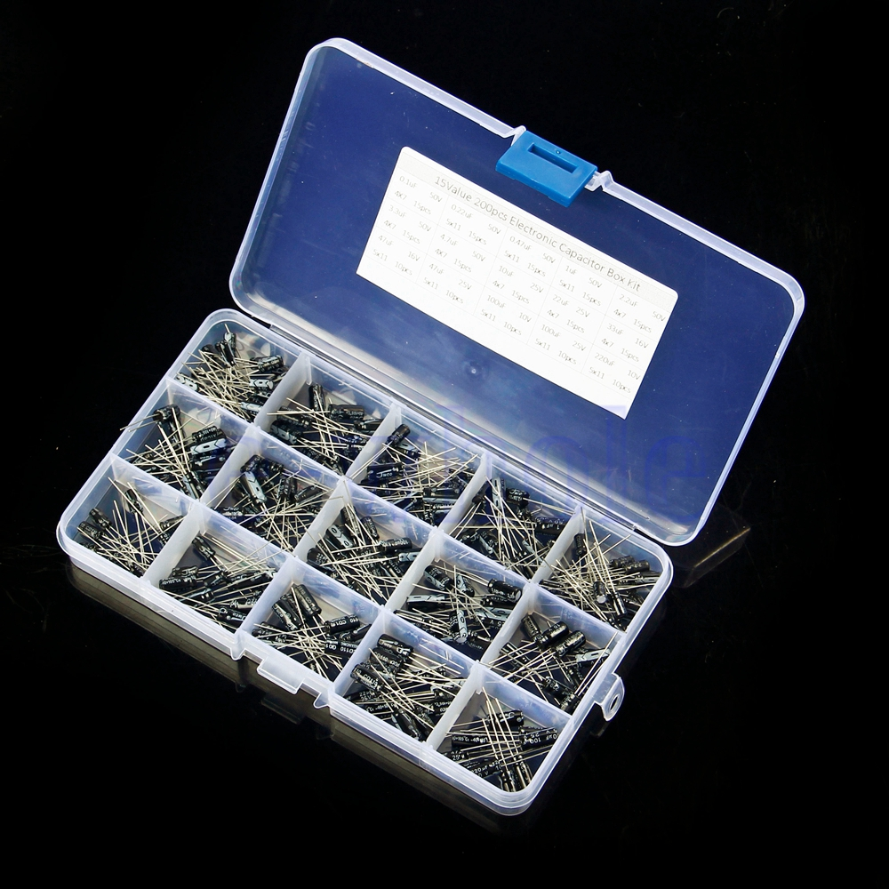 200pcs Electrolytic Capacitor Arduino Diy Assortment Kit