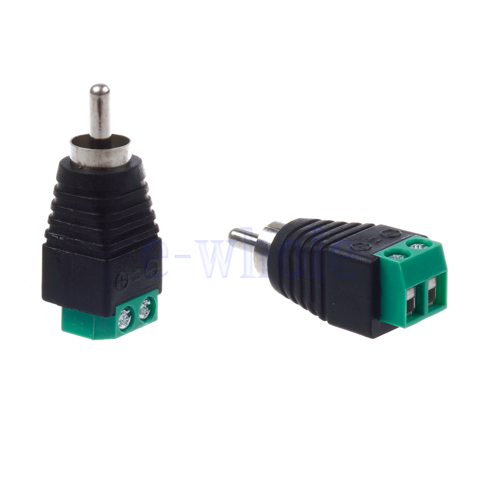 pair speaker wire cable to female male rca connector adapter jack plug hm ebay. Black Bedroom Furniture Sets. Home Design Ideas