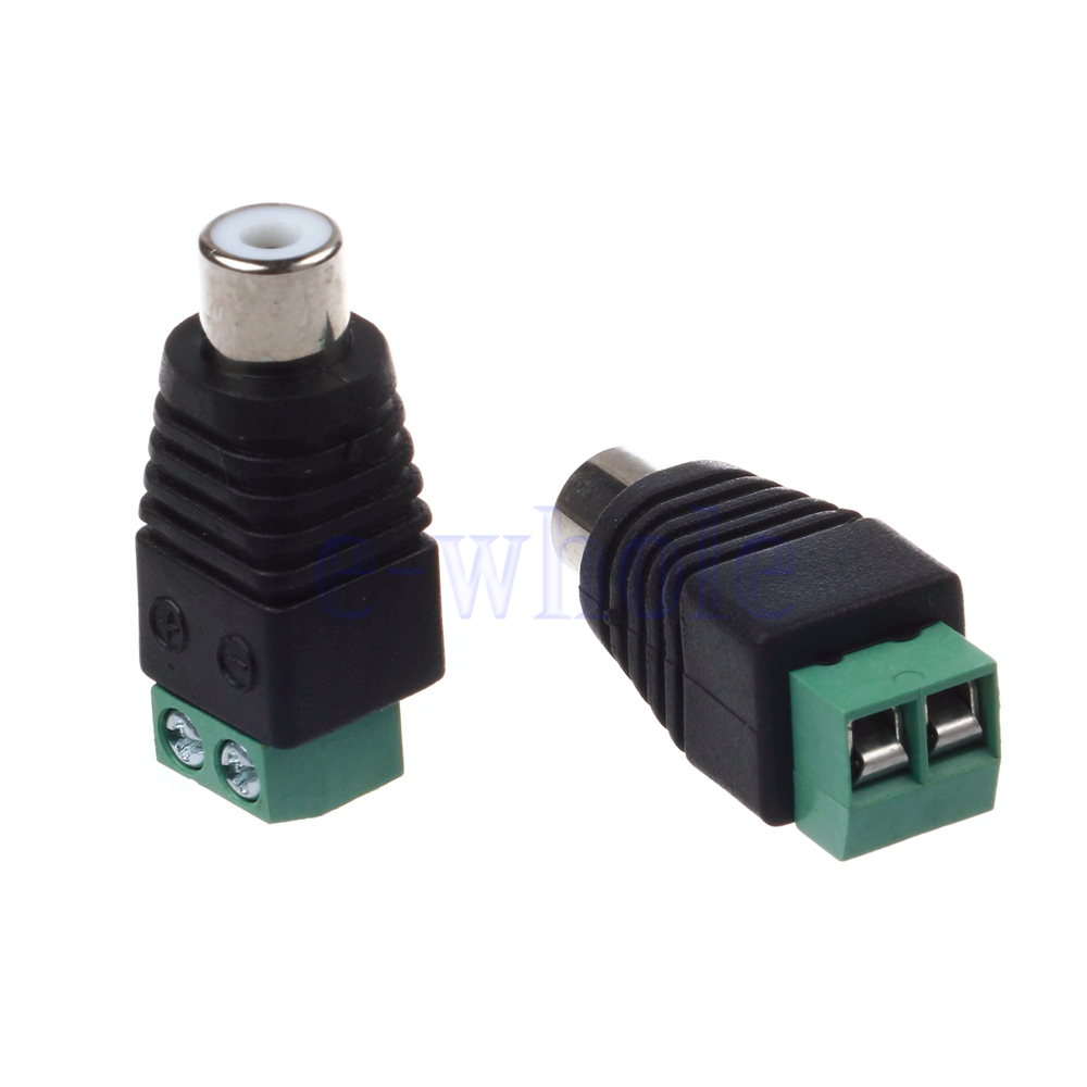 pair speaker wire cable to female male rca connector adapter jack plug dt. Black Bedroom Furniture Sets. Home Design Ideas