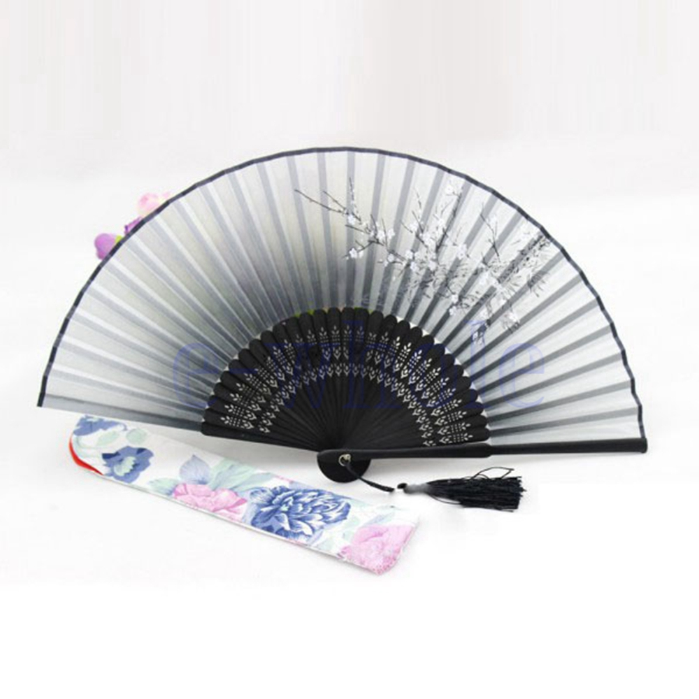 Hand Held Fans : Black chinese japanese folding hand held fan silk bamboo