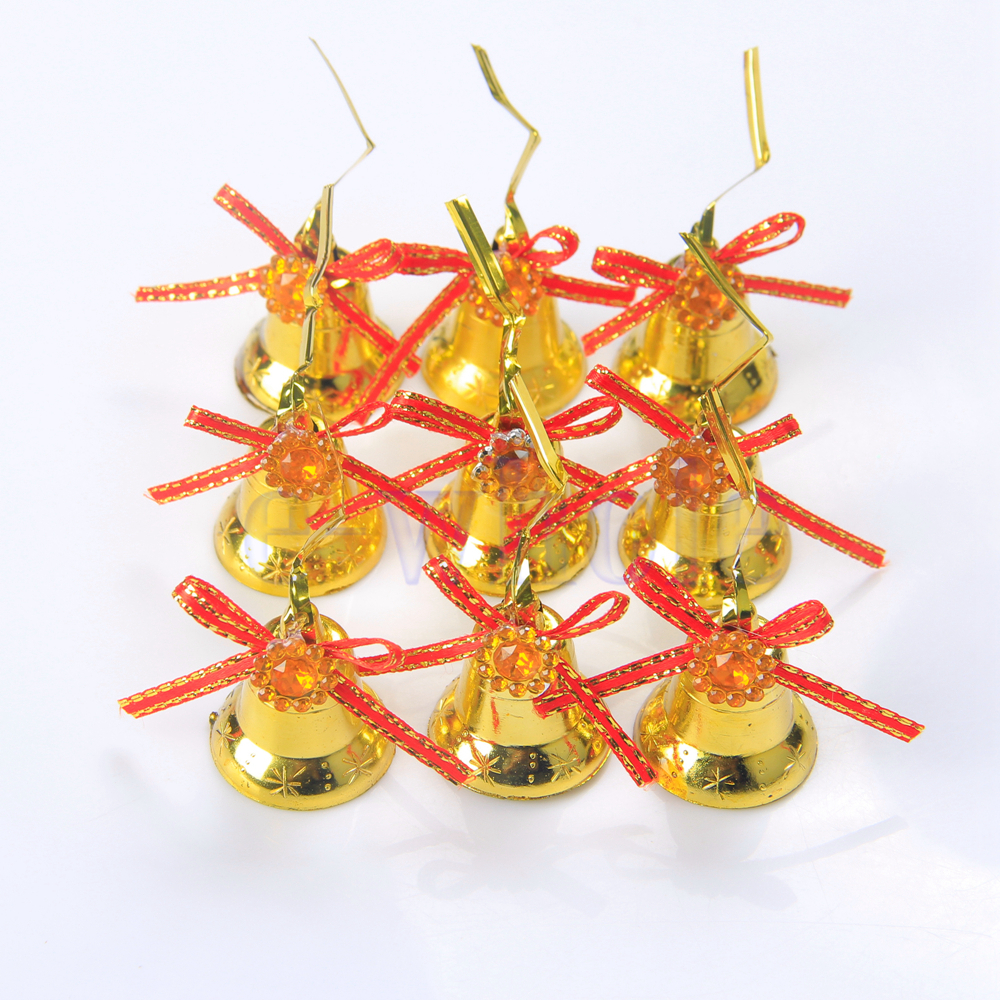 9 bell baubles tree decor hanging ornament garden for Outside christmas baubles