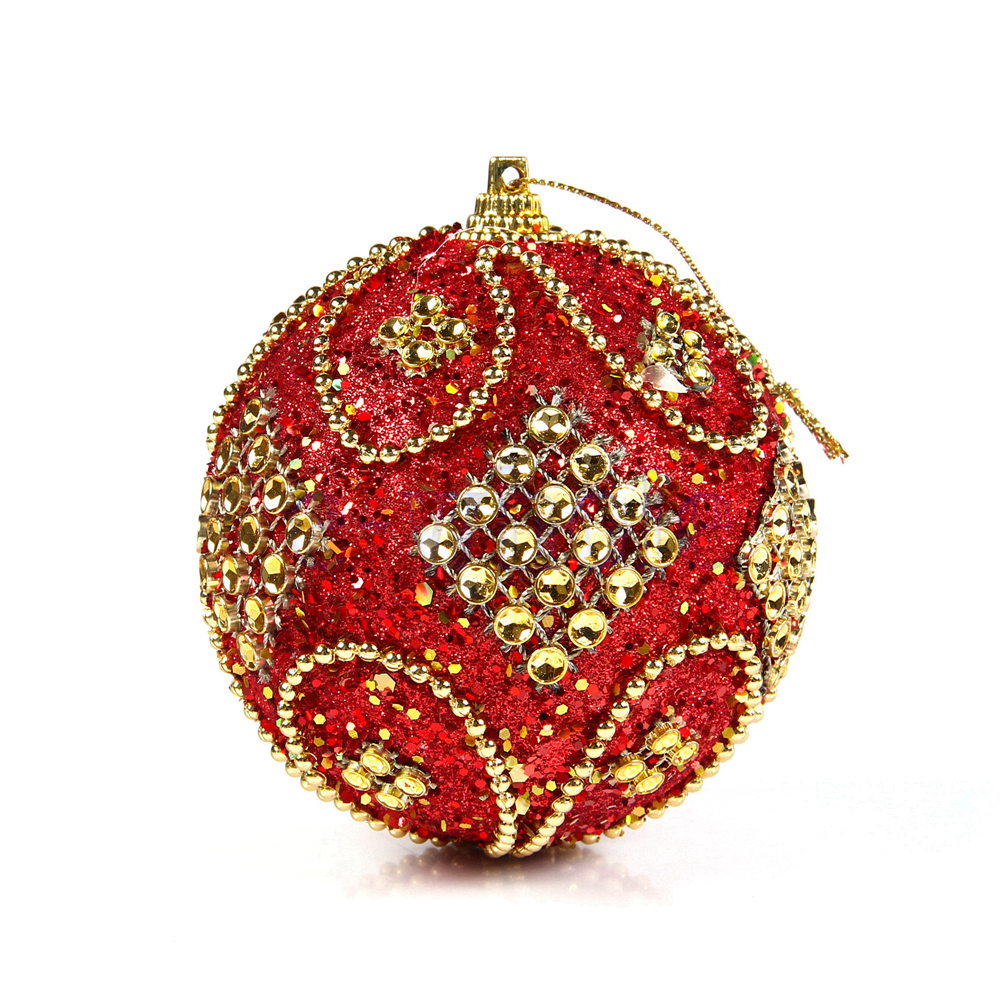 Decorative Christmas Ball Ornaments: Christmas Rhinestone Glitter Baubles Balls Xmas Tree