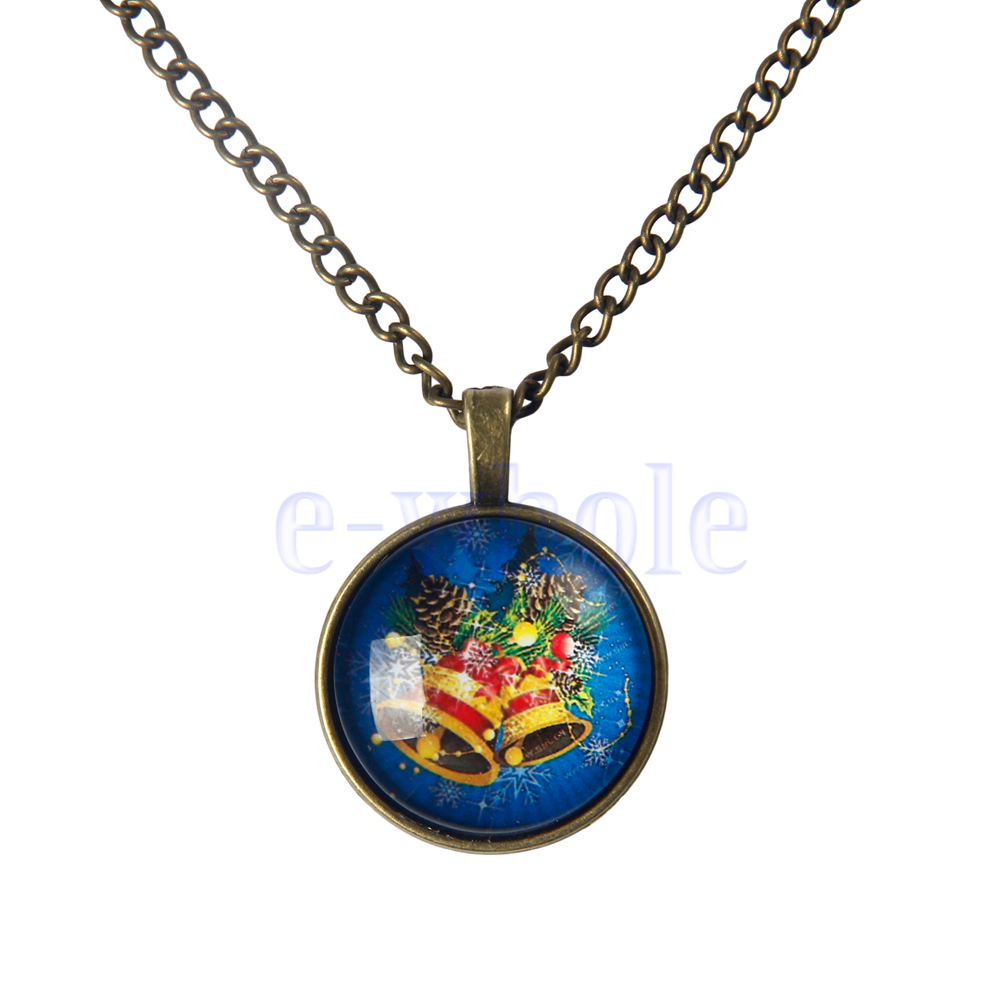 necklace glass tile necklace bell jewelry pendant ws
