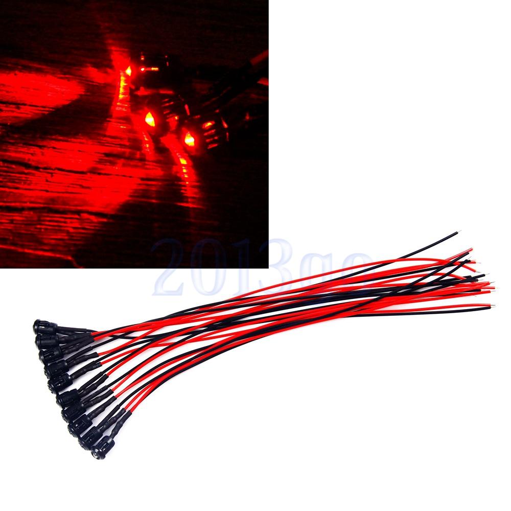 5pcs 3mm Red pre-wired 20cm LED light Lamp 12V DC with Plastic Bezel Holders YG