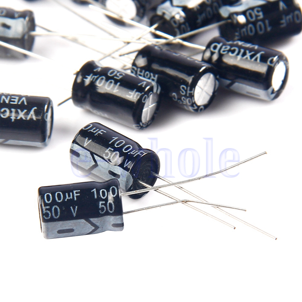 10 x 100uF 50V 105C Radial Electrolytic Capacitor 8x12 DT