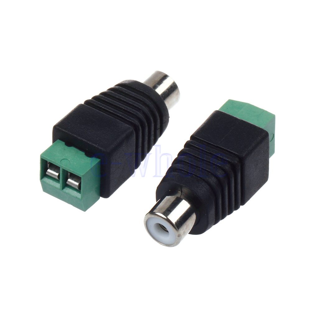 pair speaker wire cable to female male rca connector adapter jack plug tw ebay. Black Bedroom Furniture Sets. Home Design Ideas