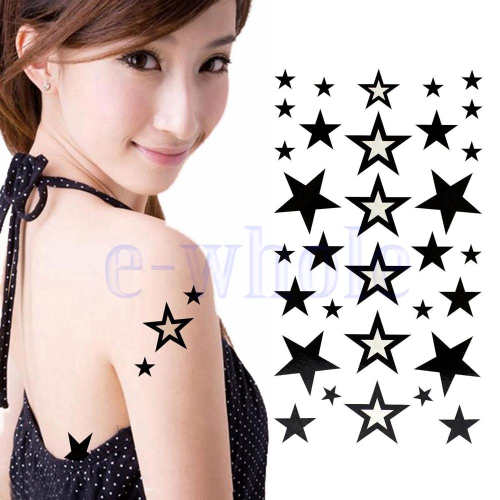 Diy stars shape removable waterproof temporary tattoo body art sticker black
