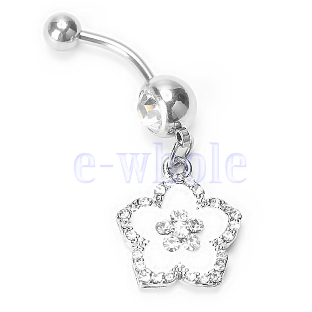 14G Navel Belly Button Ring bar White Epoxy enamel Hawaiian Flower Dangle MA